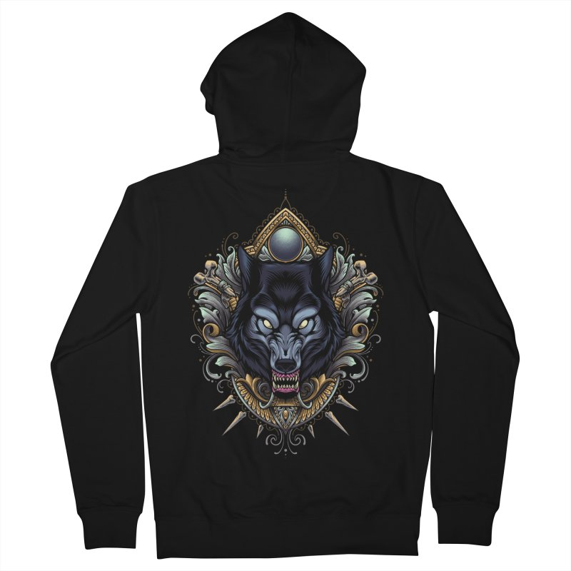 Wolf - Eternal Hunter Men's Zip-Up Hoody by angoes25's Artist Shop
