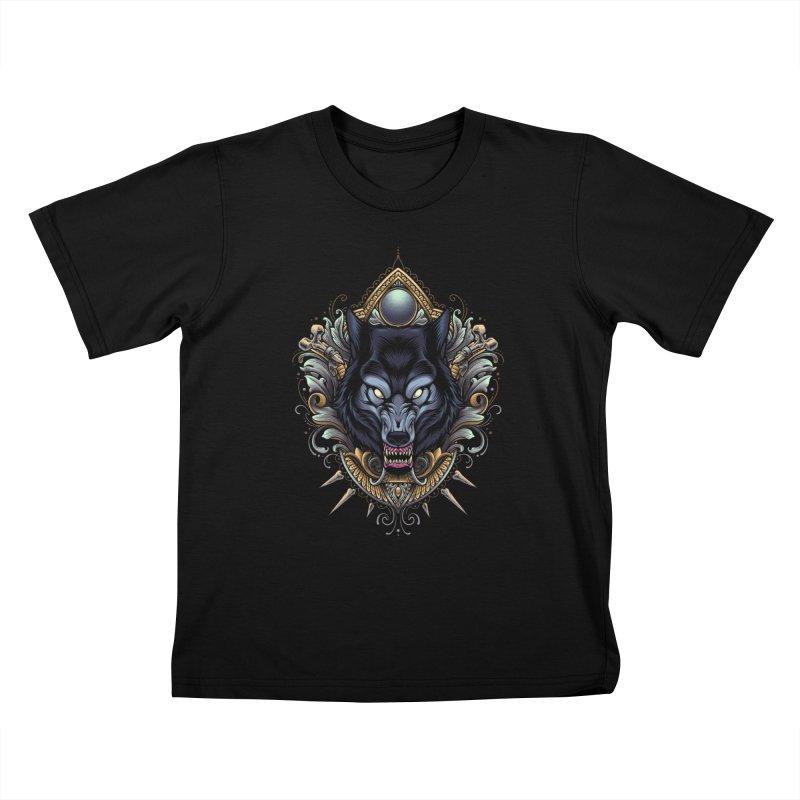 Wolf - Eternal Hunter Kids T-Shirt by angoes25's Artist Shop