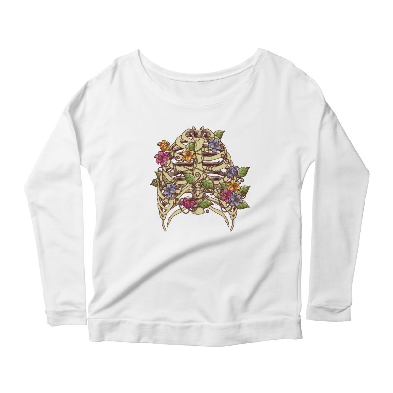 Rib Blossom Women's Scoop Neck Longsleeve T-Shirt by angoes25's Artist Shop