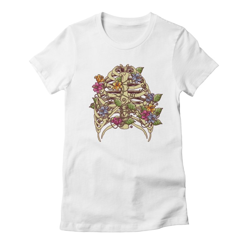 Rib Blossom Women's Fitted T-Shirt by angoes25's Artist Shop