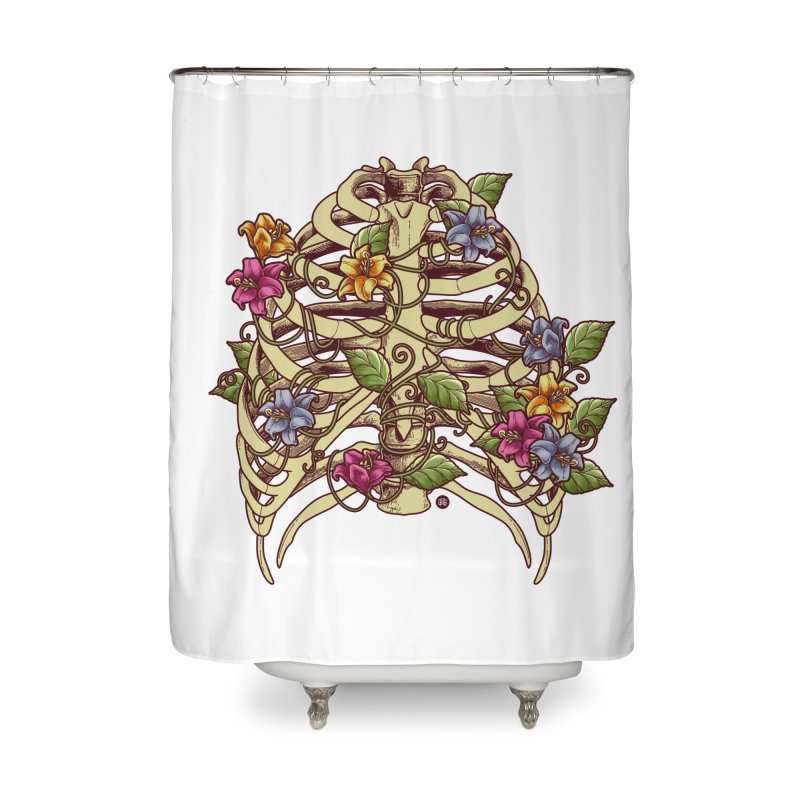 Rib Blossom Home Shower Curtain by angoes25's Artist Shop