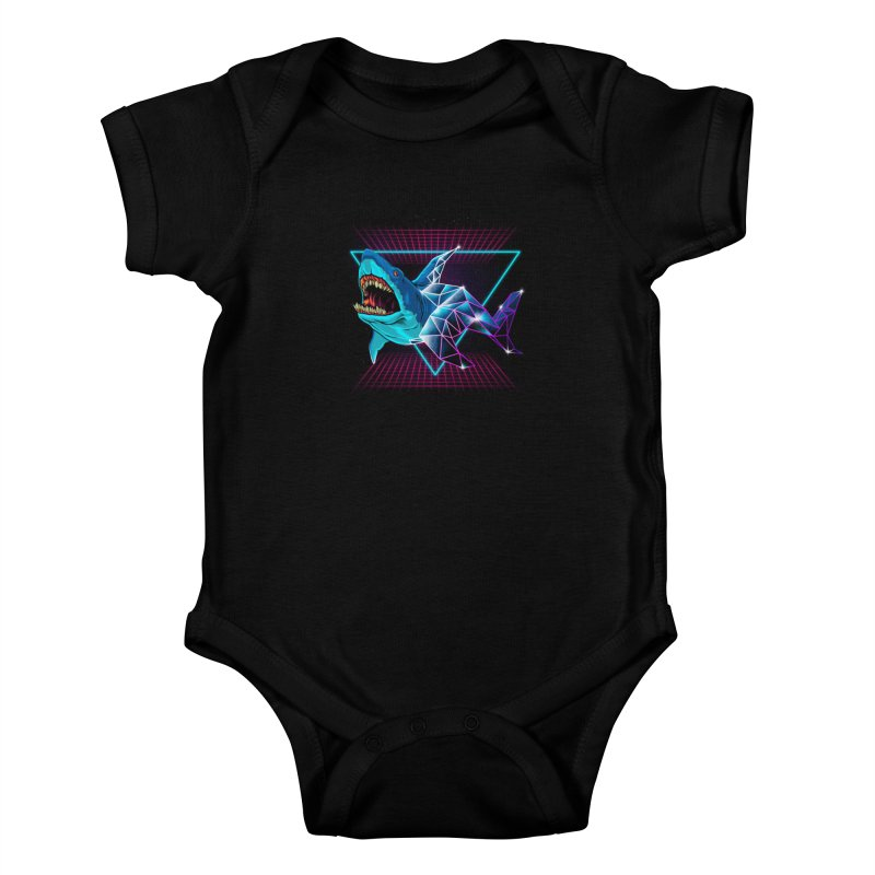 Shark 80's Kids Baby Bodysuit by angoes25's Artist Shop