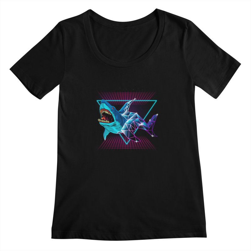 Shark 80's Women's Scoopneck by angoes25's Artist Shop