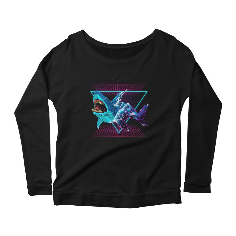 Shark 80's Women's Longsleeve Scoopneck  by angoes25's Artist Shop
