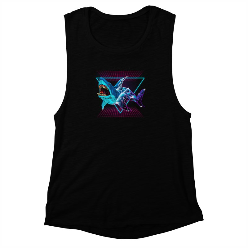 Shark 80's Women's Muscle Tank by angoes25's Artist Shop