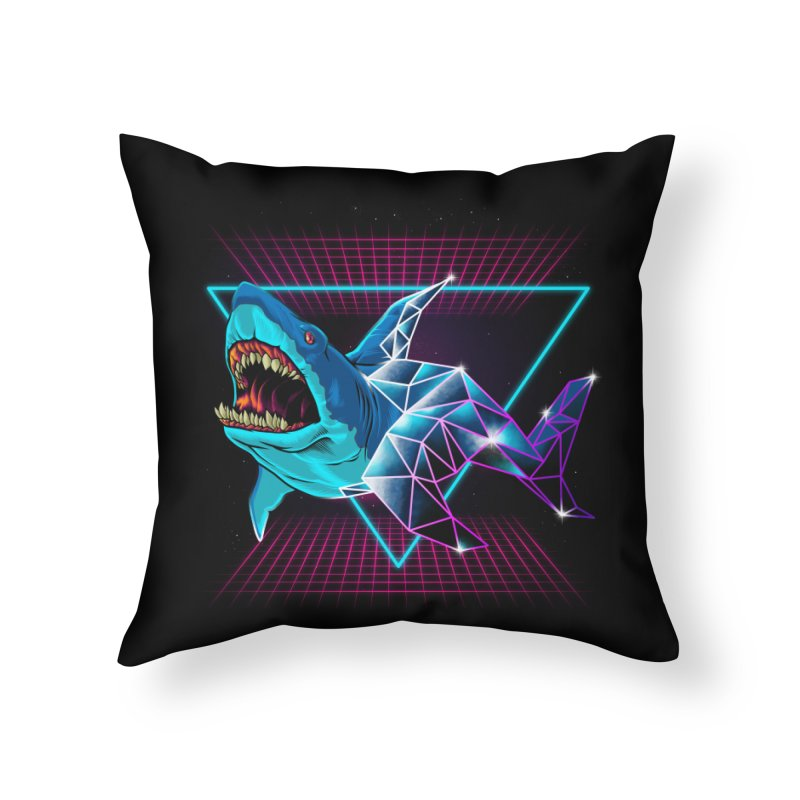 Shark 80's Home Throw Pillow by angoes25's Artist Shop