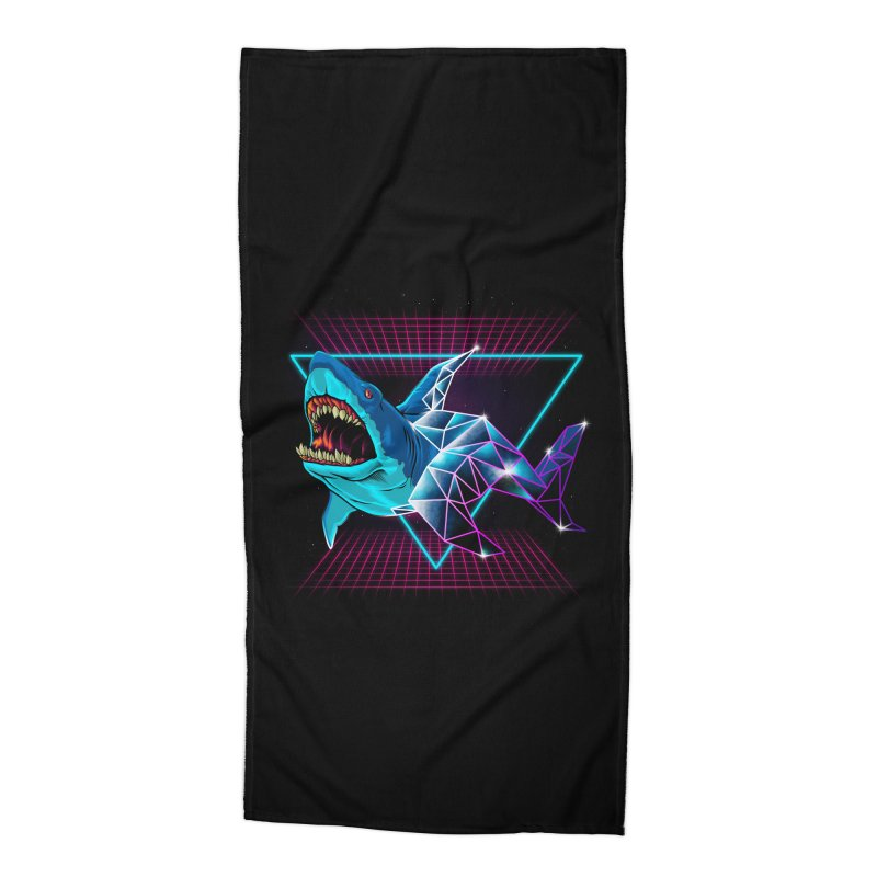 Shark 80's Accessories Beach Towel by angoes25's Artist Shop