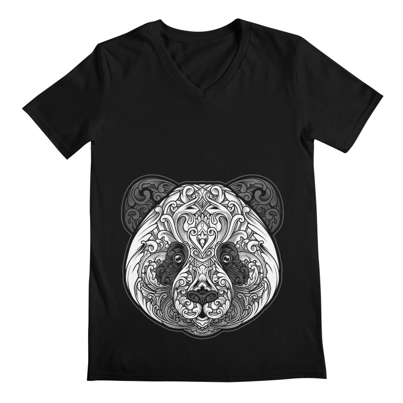 Panda-zen Men's Regular V-Neck by angoes25's Artist Shop