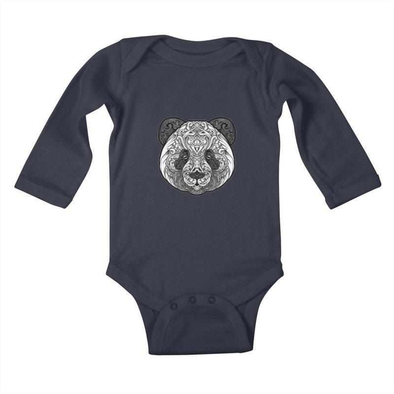 Panda-zen Kids Baby Longsleeve Bodysuit by angoes25's Artist Shop