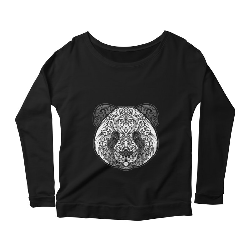 Panda-zen Women's Longsleeve Scoopneck  by angoes25's Artist Shop