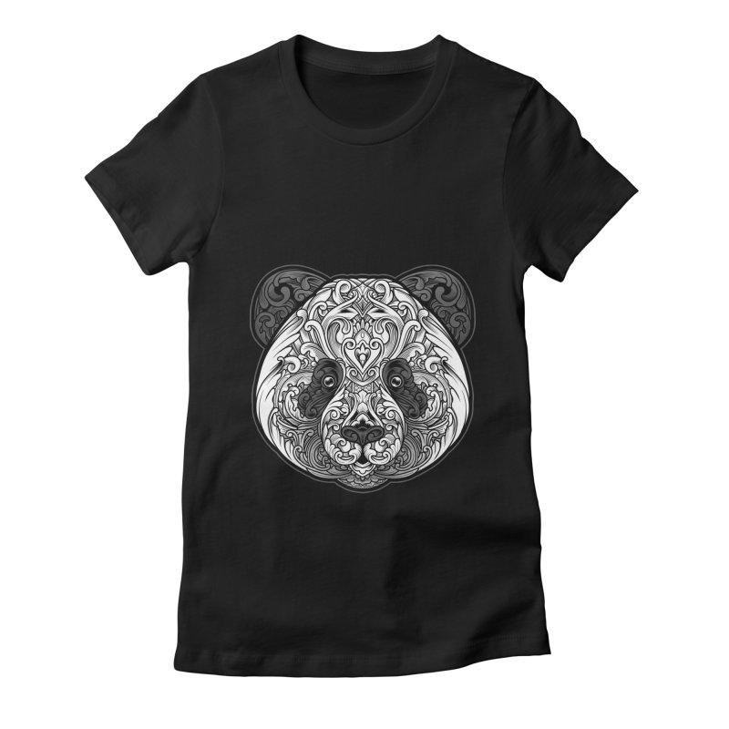 Panda-zen Women's Fitted T-Shirt by angoes25's Artist Shop