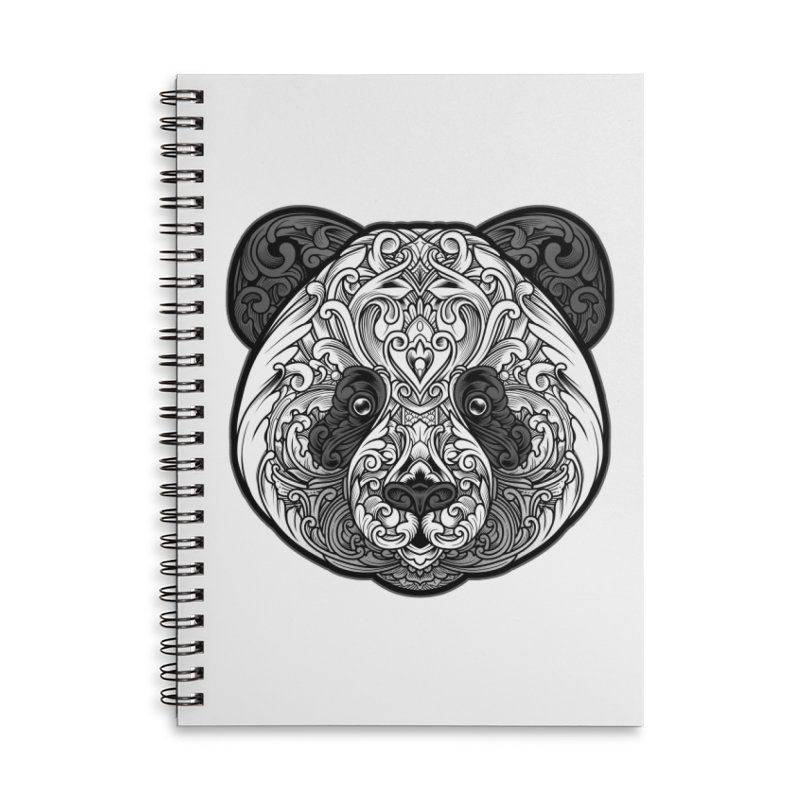 Panda-zen Accessories Lined Spiral Notebook by angoes25's Artist Shop