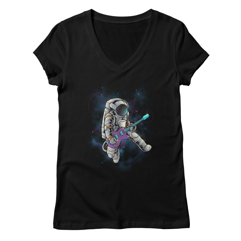 Rocker spaceman Women's Regular V-Neck by angoes25's Artist Shop