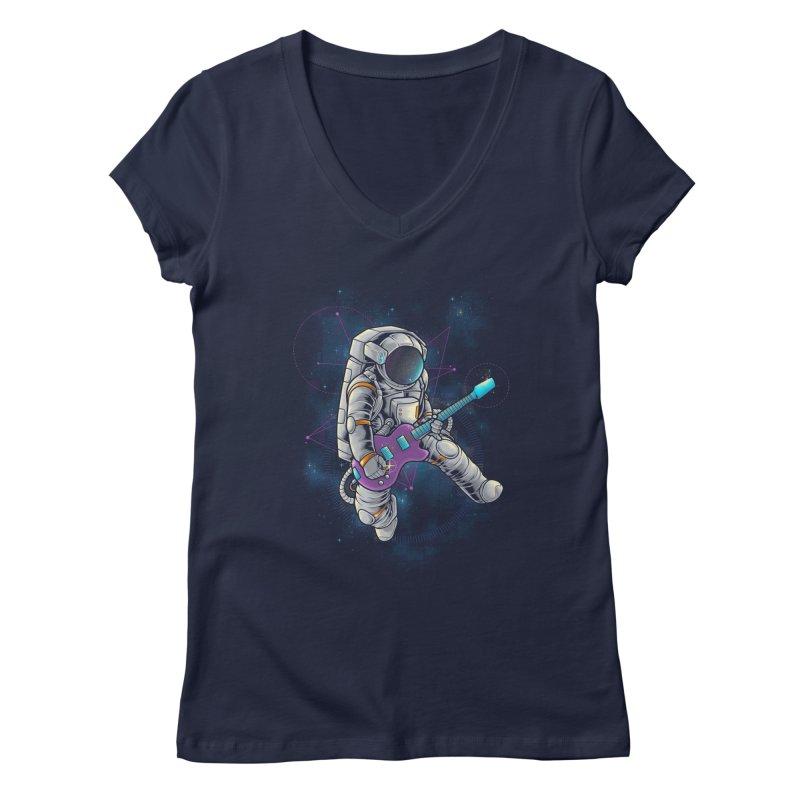 Rocker spaceman Women's Regular V-Neck by angoes25's Artist Shop