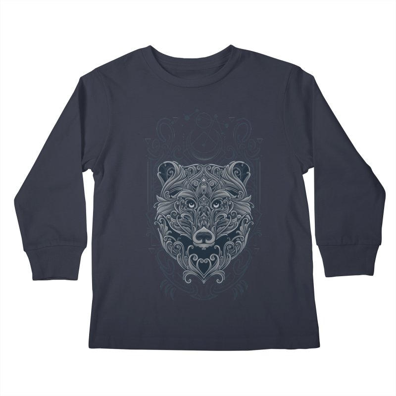 Bear of Wildness Spirit Kids Longsleeve T-Shirt by angoes25's Artist Shop
