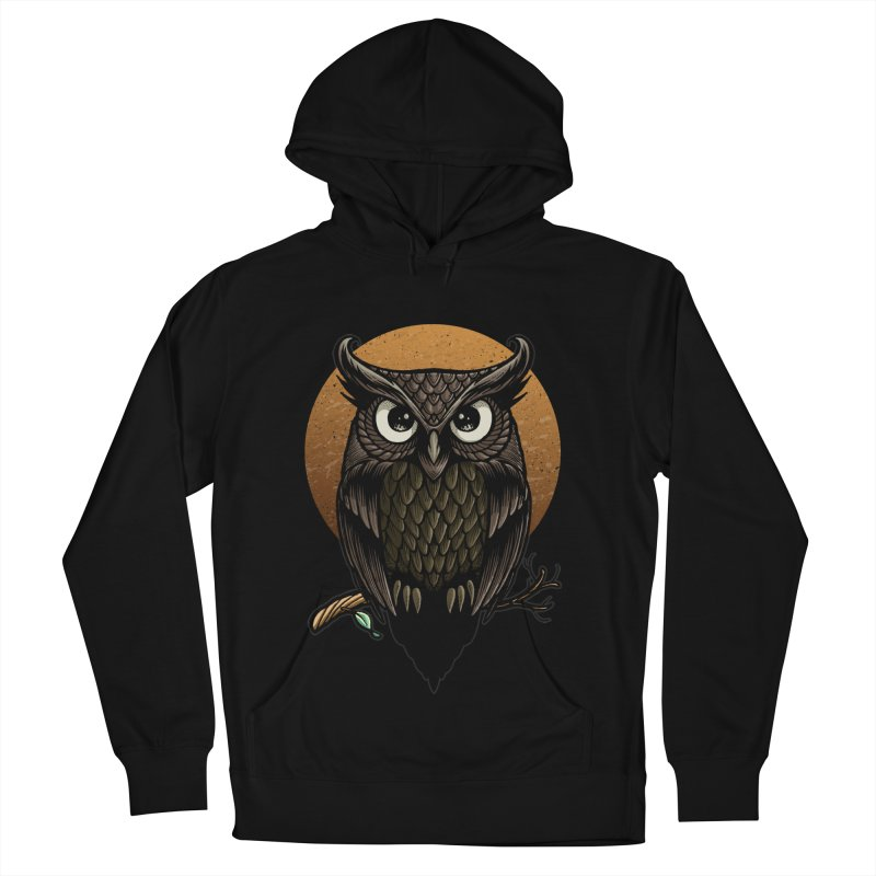 Owl-Fullmoon Men's French Terry Pullover Hoody by angoes25's Artist Shop