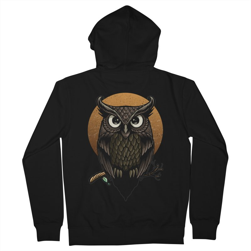 Owl-Fullmoon Men's French Terry Zip-Up Hoody by angoes25's Artist Shop