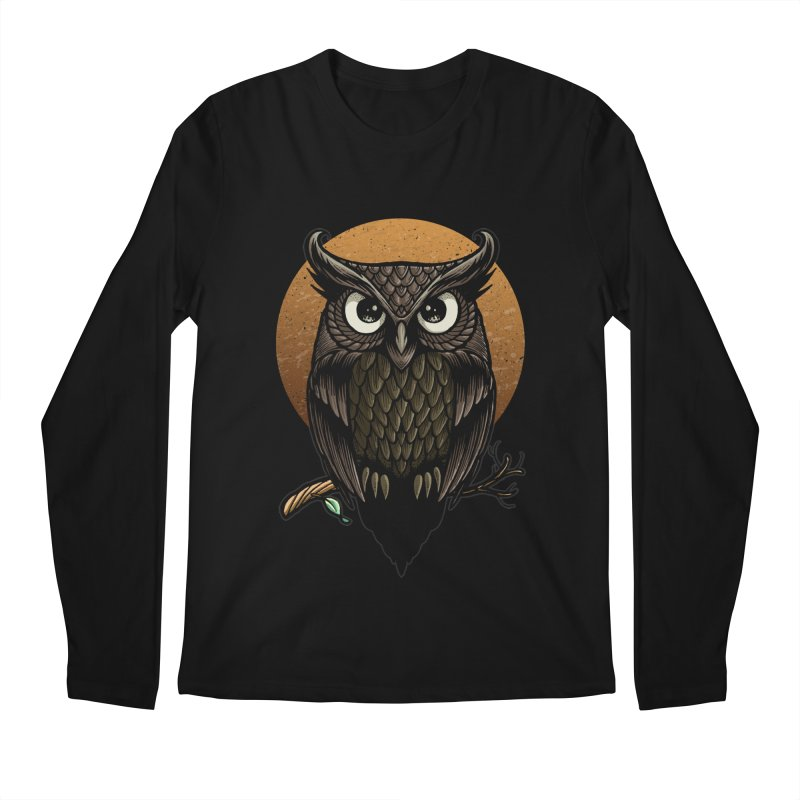 Owl-Fullmoon Men's Longsleeve T-Shirt by angoes25's Artist Shop