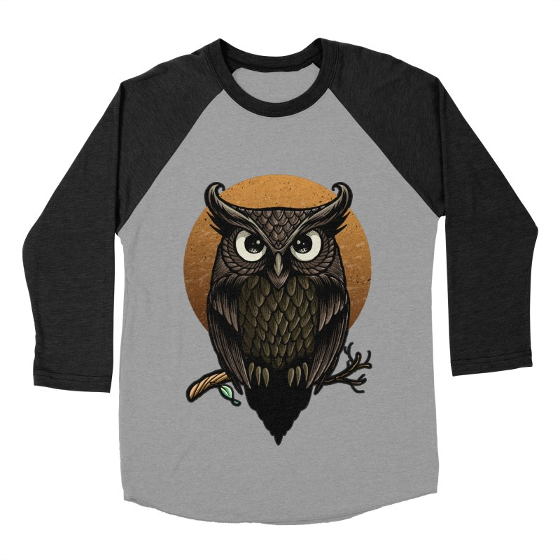 Owl-Fullmoon Men's Baseball Triblend T-Shirt by angoes25's Artist Shop