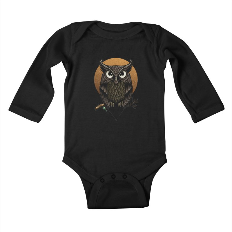 Owl-Fullmoon Kids Baby Longsleeve Bodysuit by angoes25's Artist Shop