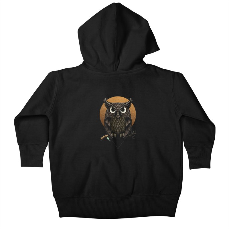 Owl-Fullmoon Kids Baby Zip-Up Hoody by angoes25's Artist Shop
