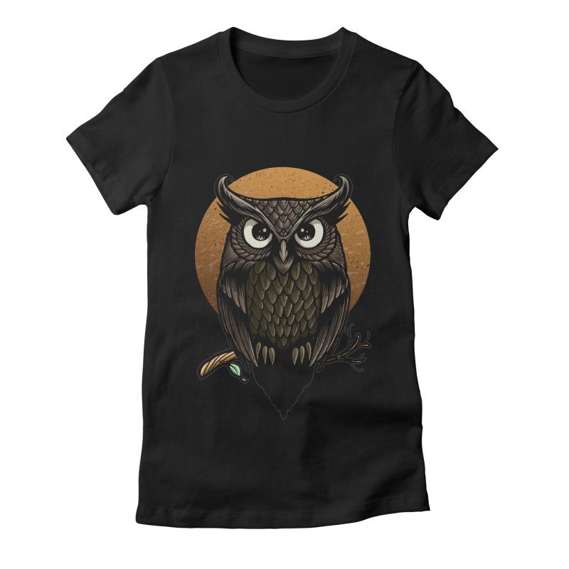 Owl-Fullmoon Women's Fitted T-Shirt by angoes25's Artist Shop