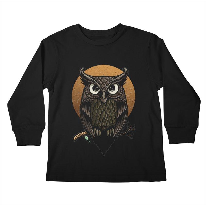 Owl-Fullmoon Kids Longsleeve T-Shirt by angoes25's Artist Shop