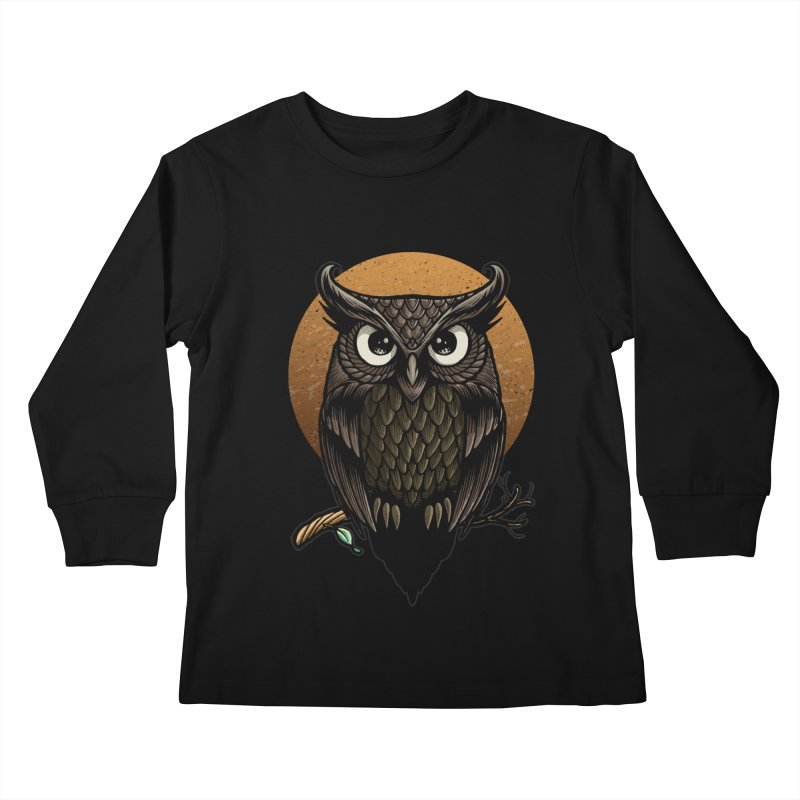 Owl-Fullmoon Kids Longsleeve T-Shirt by angoes25's Artist Shop