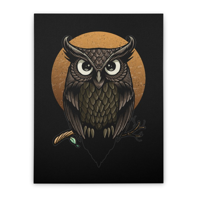 Owl-Fullmoon Home Stretched Canvas by angoes25's Artist Shop
