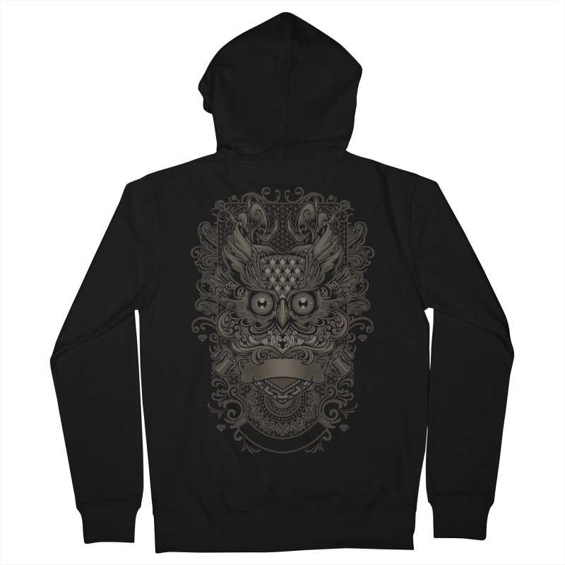 Owl ornate Men's French Terry Zip-Up Hoody by angoes25's Artist Shop