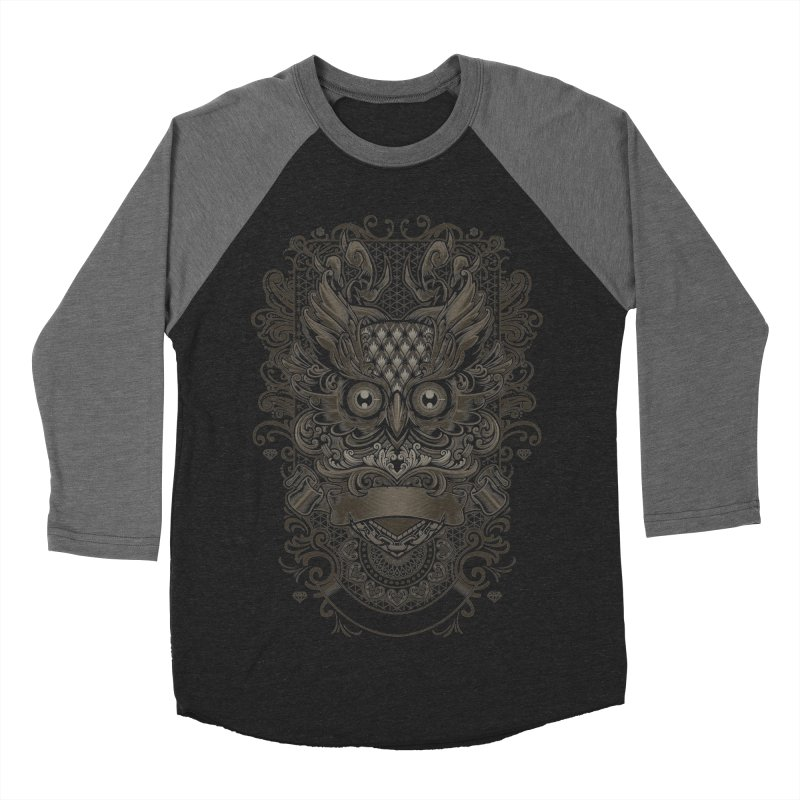 Owl ornate Men's Baseball Triblend T-Shirt by angoes25's Artist Shop