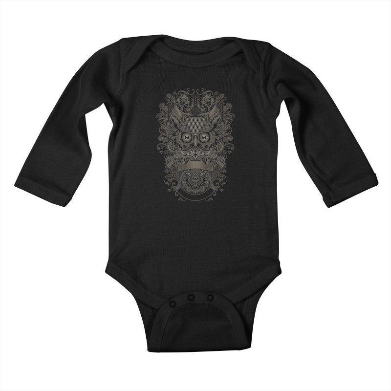 Owl ornate Kids Baby Longsleeve Bodysuit by angoes25's Artist Shop