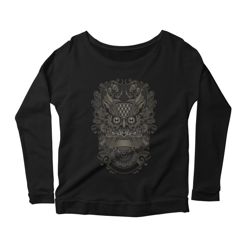 Owl ornate Women's Longsleeve Scoopneck  by angoes25's Artist Shop