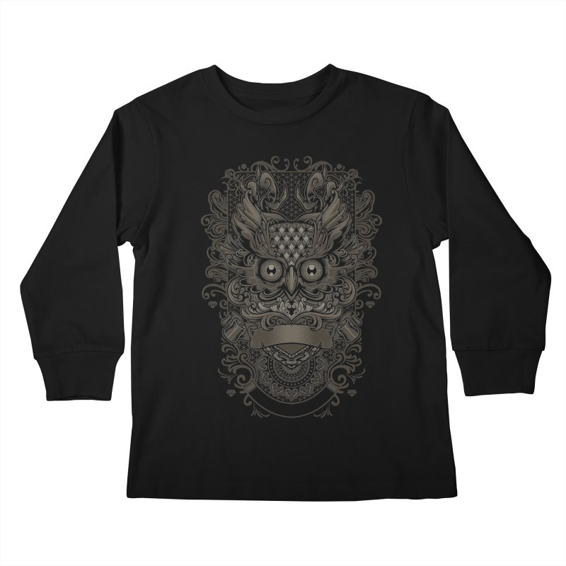 Owl ornate Kids Longsleeve T-Shirt by angoes25's Artist Shop