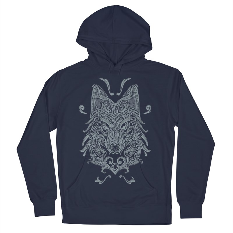 Ornate Wolf Men's French Terry Pullover Hoody by angoes25's Artist Shop