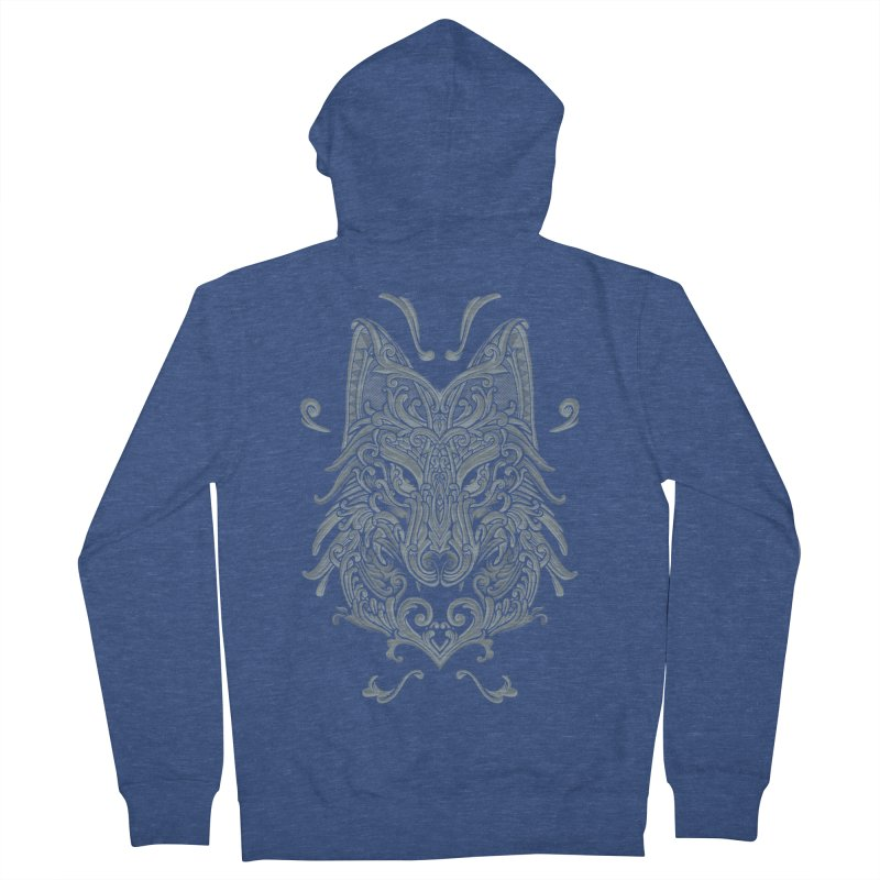 Ornate Wolf Women's French Terry Zip-Up Hoody by angoes25's Artist Shop