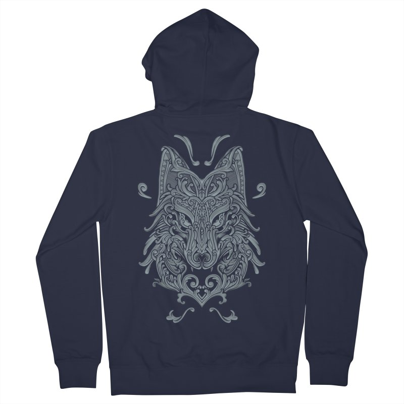 Ornate Wolf Men's French Terry Zip-Up Hoody by angoes25's Artist Shop