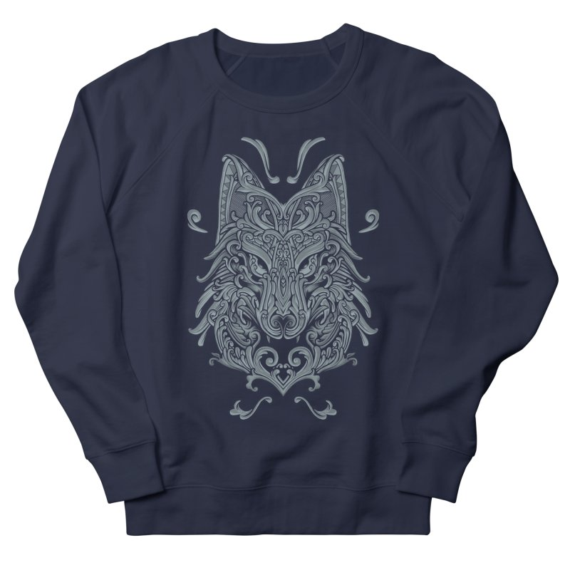Ornate Wolf Men's French Terry Sweatshirt by angoes25's Artist Shop