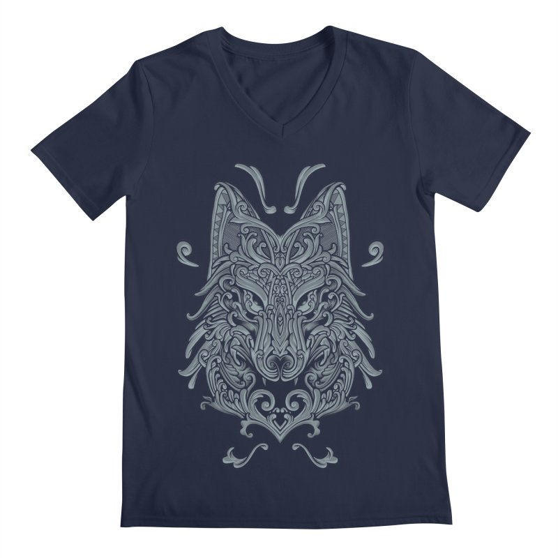 Ornate Wolf Men's Regular V-Neck by angoes25's Artist Shop