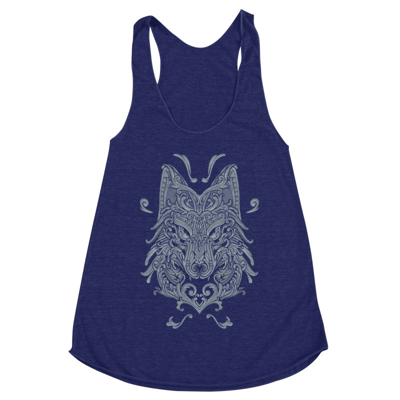Ornate Wolf Women's Racerback Triblend Tank by angoes25's Artist Shop