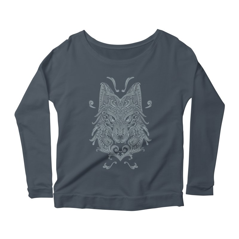 Ornate Wolf Women's Longsleeve Scoopneck  by angoes25's Artist Shop