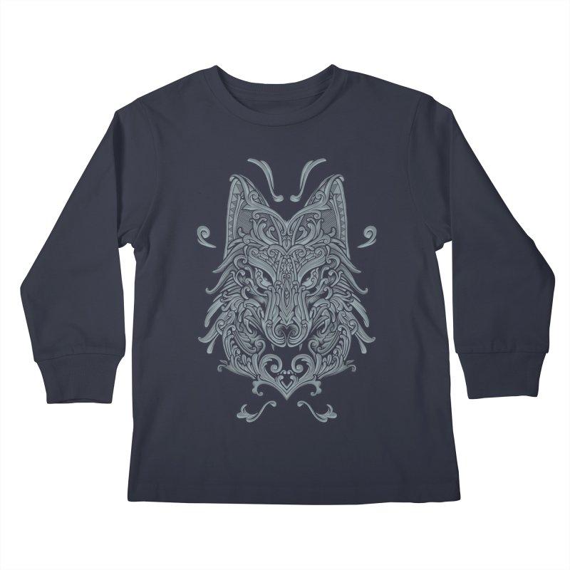 Ornate Wolf Kids Longsleeve T-Shirt by angoes25's Artist Shop
