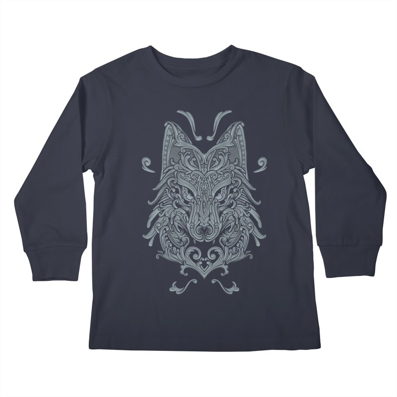 Ornate Wolf Kids Longsleeve T-Shirt by angoes25's Artist Shop