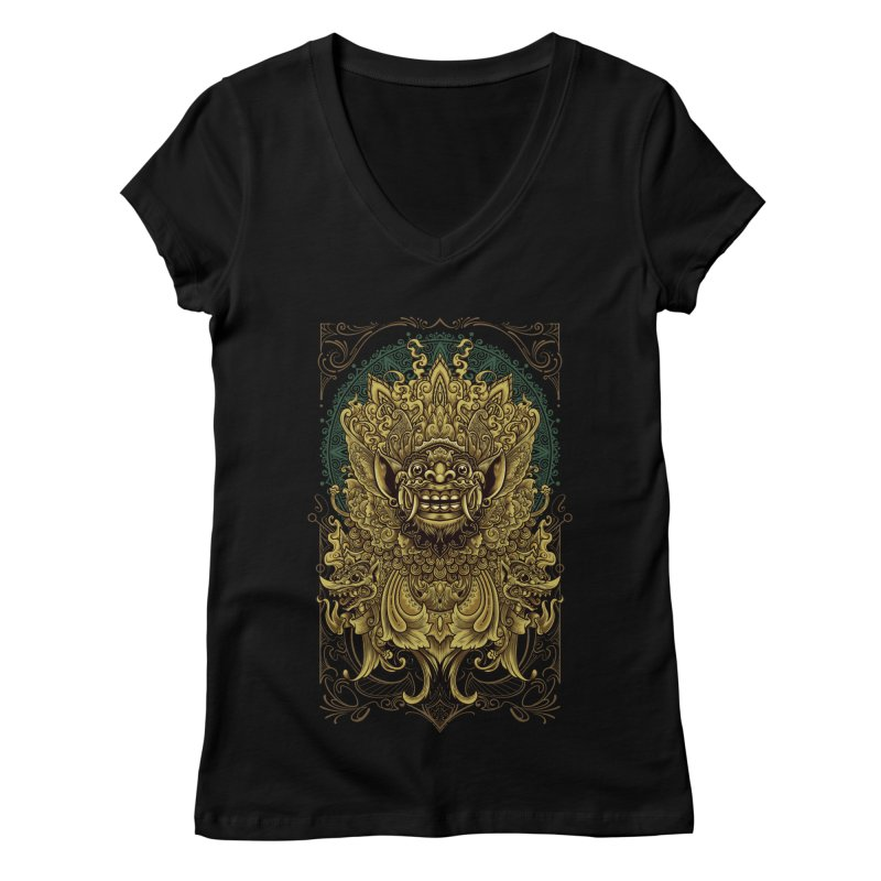 Balinese Barong Women's Regular V-Neck by angoes25's Artist Shop