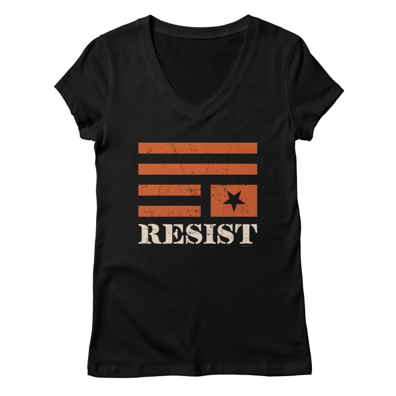 RESIST Women's V-Neck by angryblue's Artist Shop