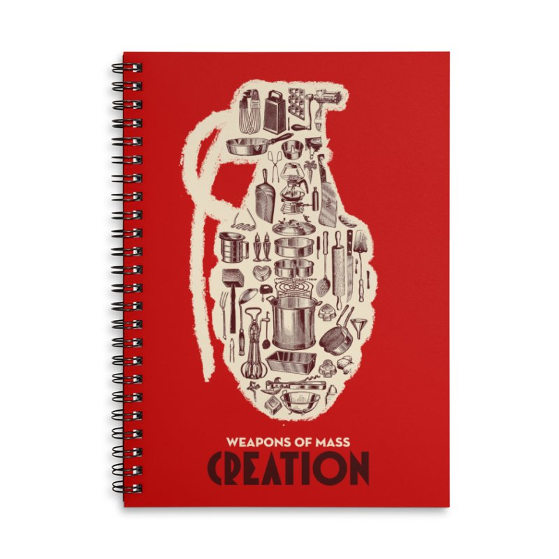 Weapons of Mass Creation - Cooking Accessories Lined Spiral Notebook by Angryblue