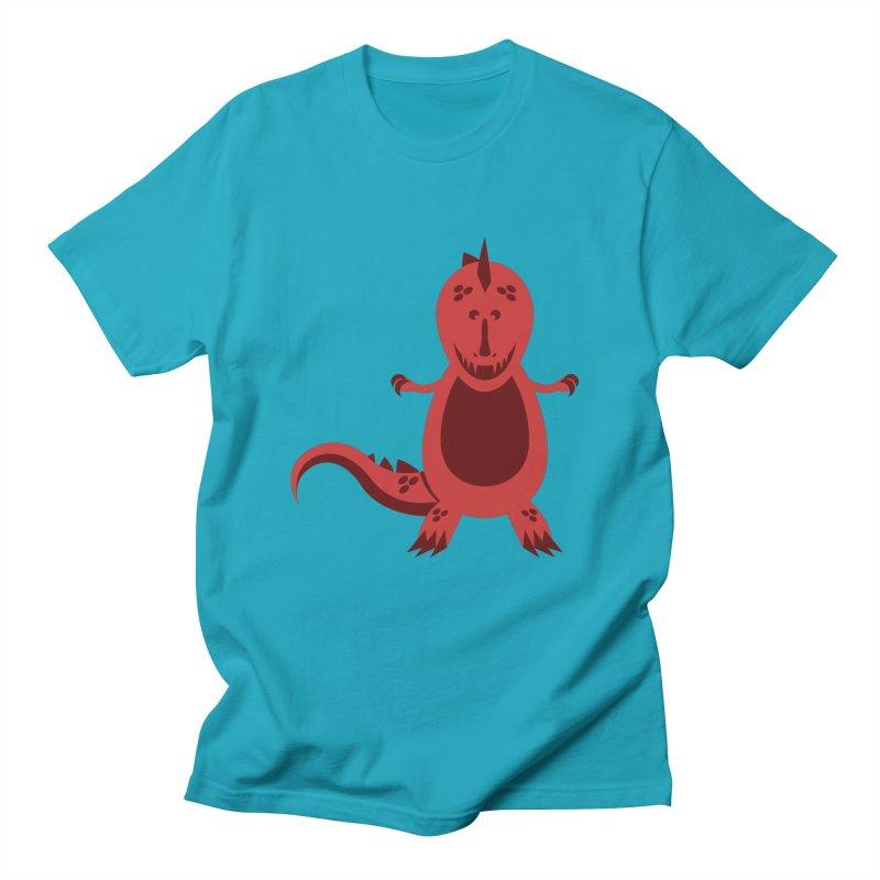 Red T-rex Men's Regular T-Shirt by Angry Guppie Design's Artist Shop