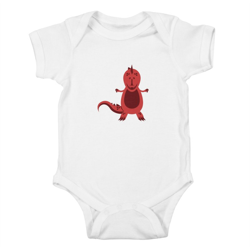 Red T-rex Kids Baby Bodysuit by Angry Guppie Design's Artist Shop