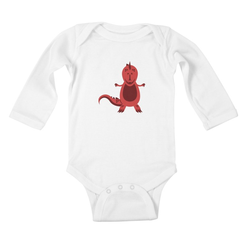 Red T-rex Kids Baby Longsleeve Bodysuit by Angry Guppie Design's Artist Shop