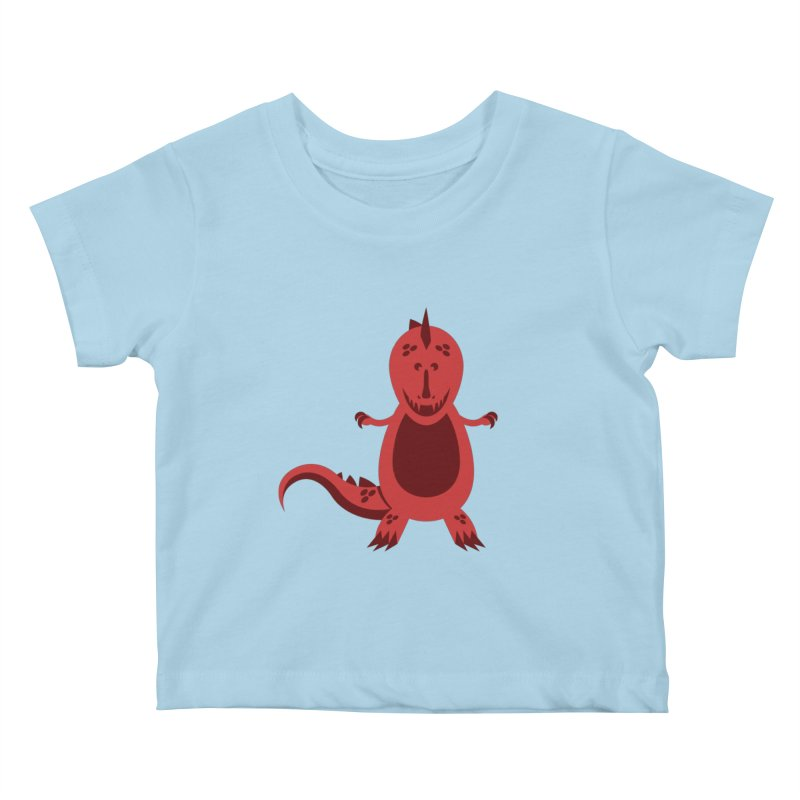Red T-rex Kids Baby T-Shirt by Angry Guppie Design's Artist Shop